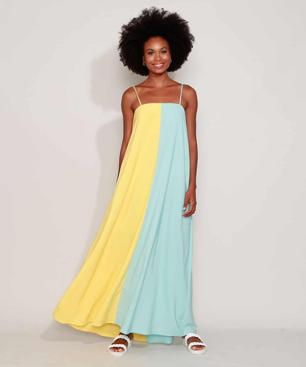 Vestido Feminino Longo Bicolor Alça Fina Multicor