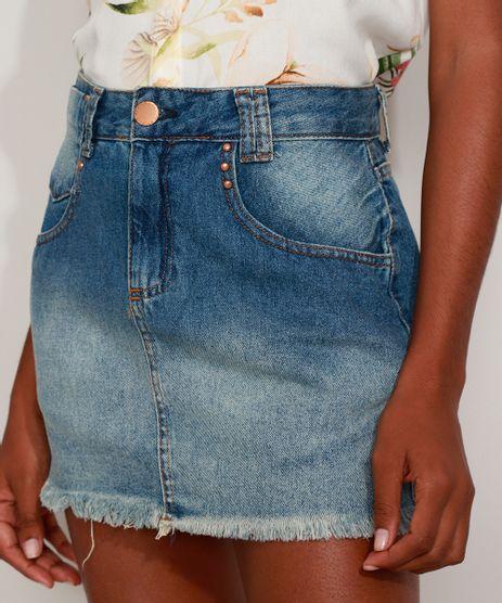 Saia-Jeans-Feminina-Curta-com-Tachas-e-Barra-Desfiada-Azul-Medio-9975163-Azul_Medio_1