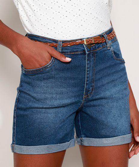 Short-Jeans-Feminino-Midi-Cintura-Media-com-Cinto-e-Barra-Dobrada-Azul-Medio-9982993-Azul_Medio_1