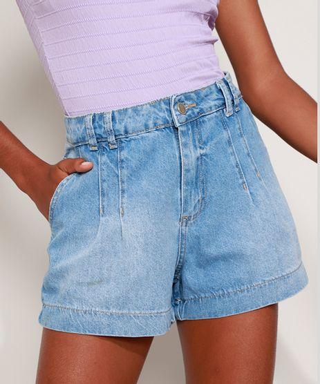 Short-Jeans-Feminino-Sawary-Gode-Cintura-Alta-com-Pences-Azul-Claro-9980121-Azul_Claro_1