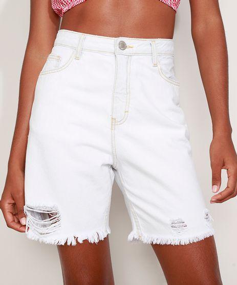 Bermuda-Jeans-Feminina-Cintura-Super-Alta-Destroyed-com-Barra-Desfiada-Azul-Claro-9975141-Azul_Claro_1