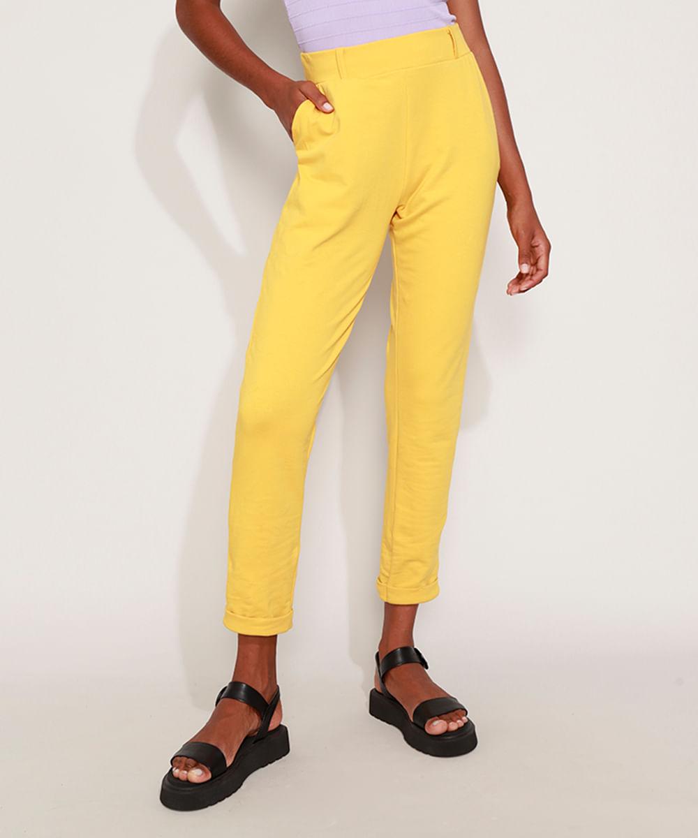 Calça Feminina Jogger Cintura Alta com Bolsos Amarela