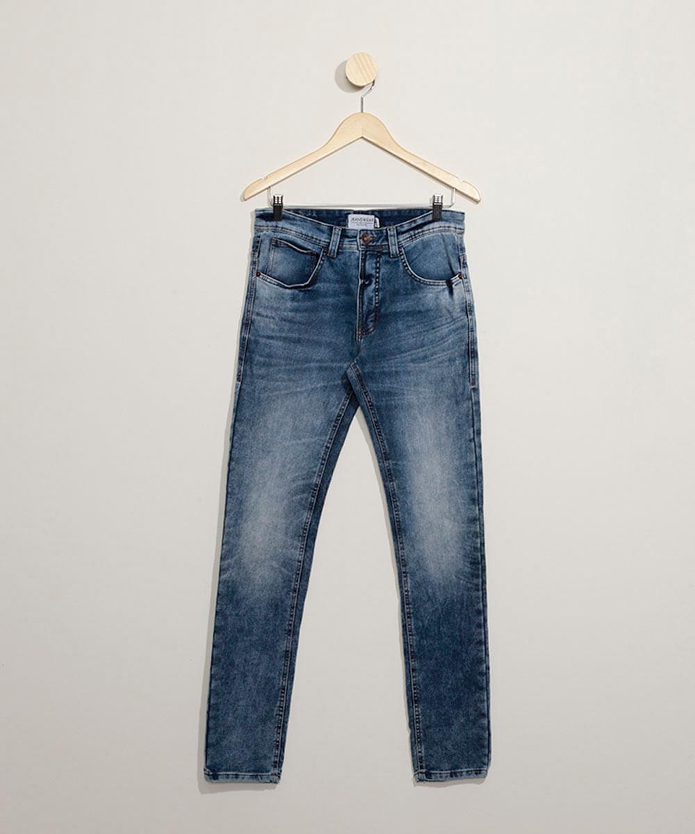 Calça Jeans de Moletom Masculina Skinny com Bolsos Azul Médio