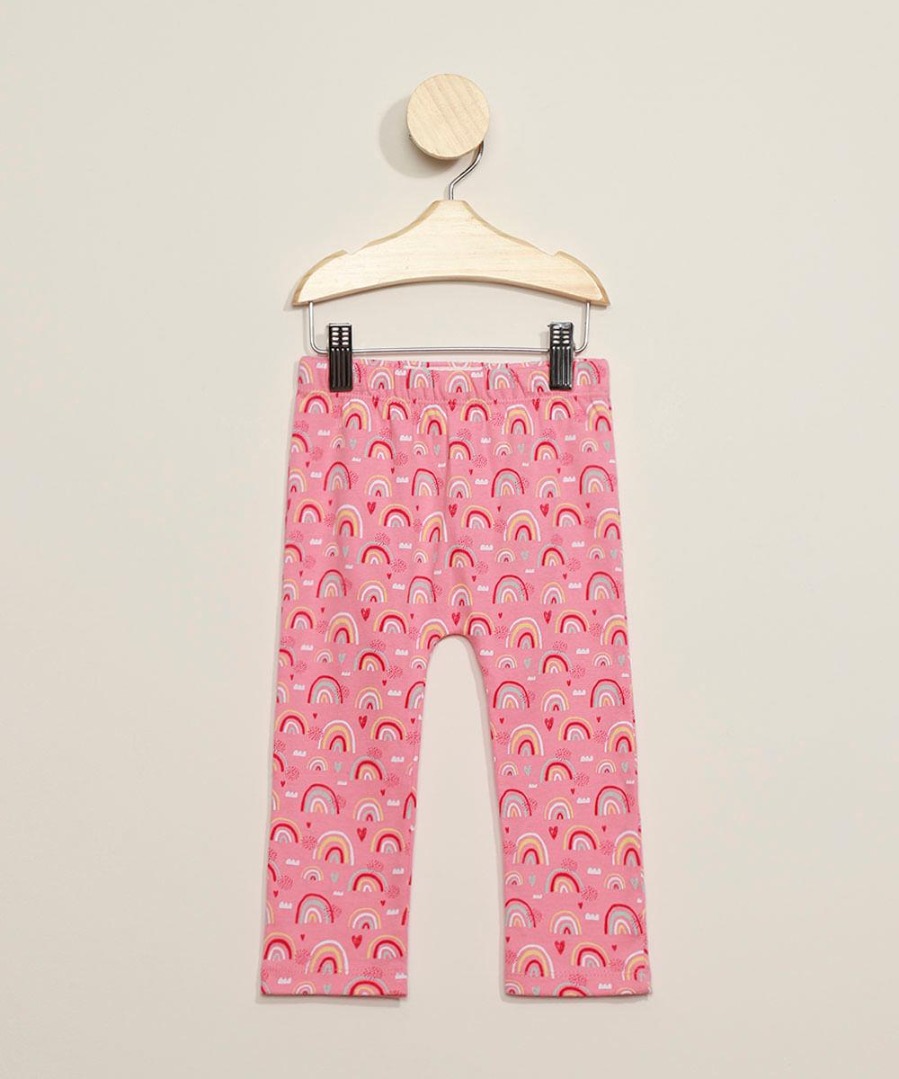 Calça Infantil Estampada Arco-Íris com Bordado Coelhinho Rosa