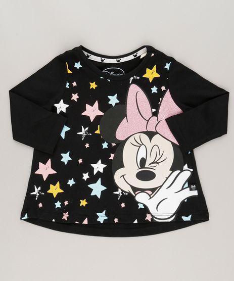 Blusa-Minnie-com-Glitter-em-Algodao---Sustentavel-Preta-9042626-Preto_1