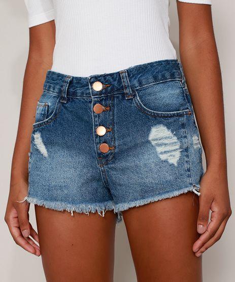 Short-Jeans-Feminino-Cintura-Alta-Destroyed-com-Botoes-e-Barra-Desfiada-Azul-Medio-9975154-Azul_Medio_1