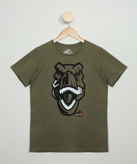 Camiseta-Juvenil-Estampada-Jurassic-Park-Manga-Curta-Gola-Careca-Verde-Militar-9973313-Verde_Militar_1