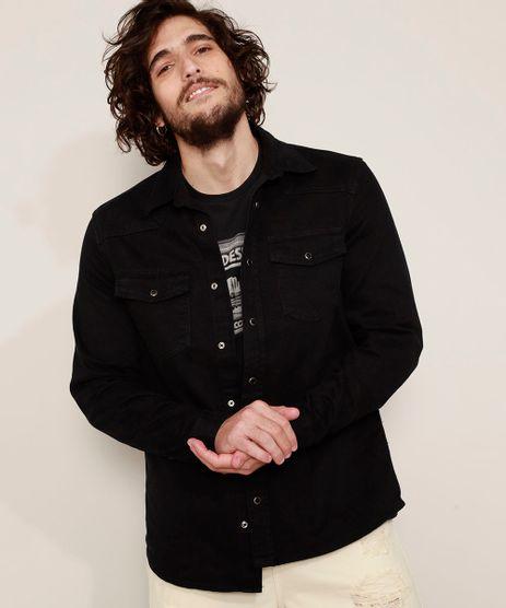 Camisa-de-Sarja-Masculina-Overshirt-Comfort-com-Bolsos-Manga-Longa-Preta-9968746-Preto_1
