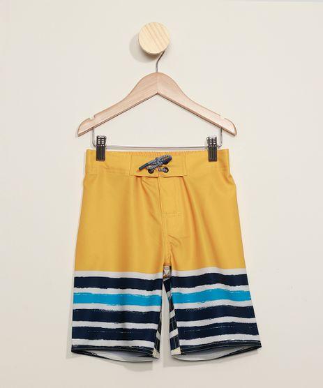 Bermuda-Surf-Infantil-com-Listras-e-Cordao-Amarela-9973424-Amarelo_1