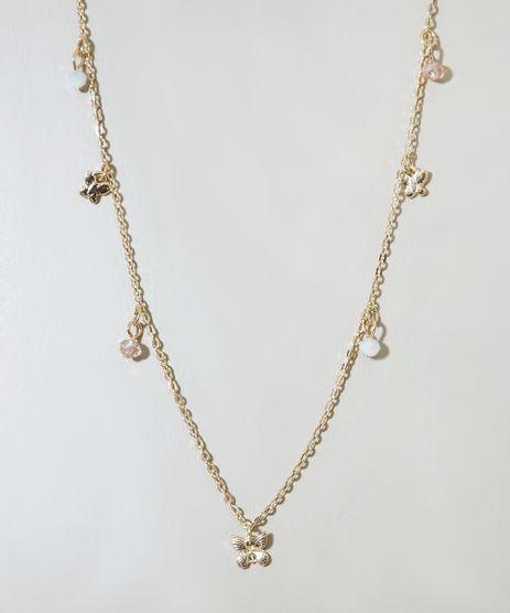 Colar-Feminino-com-Pingentes-de-Borboleta-e-Micangas-Dourado-9976395-Dourado_1