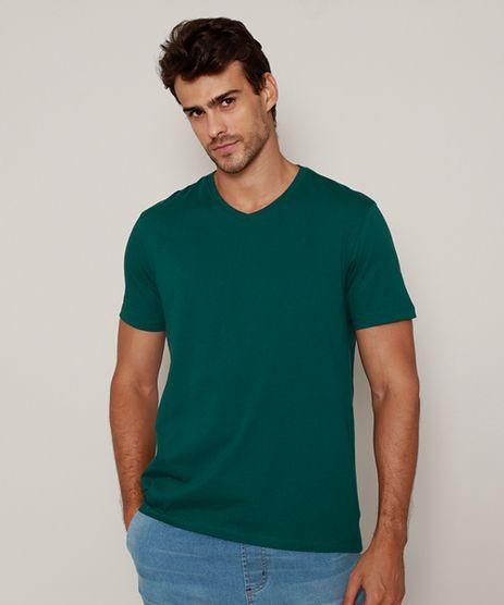 Camiseta-Masculina-Basica-Manga-Curta-Gola-V-Verde-Escuro-9965027-Verde_Escuro_1