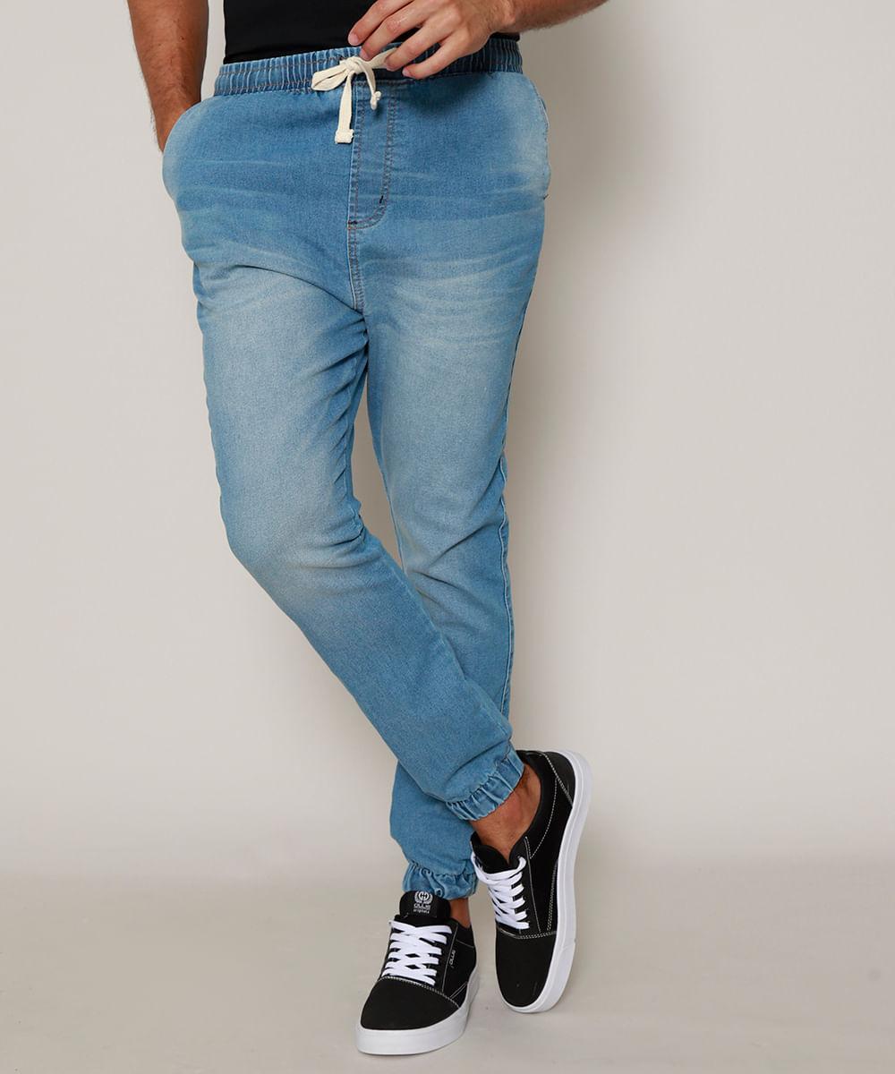Calça Jeans Masculina Jogger com Bolsos e Cordão Azul Médio
