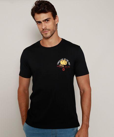 Camiseta-Masculina-Flor--Fireflies-in-the-Sky--Manga-Curta-Gola-Careca-Preta-9979779-Preto_1