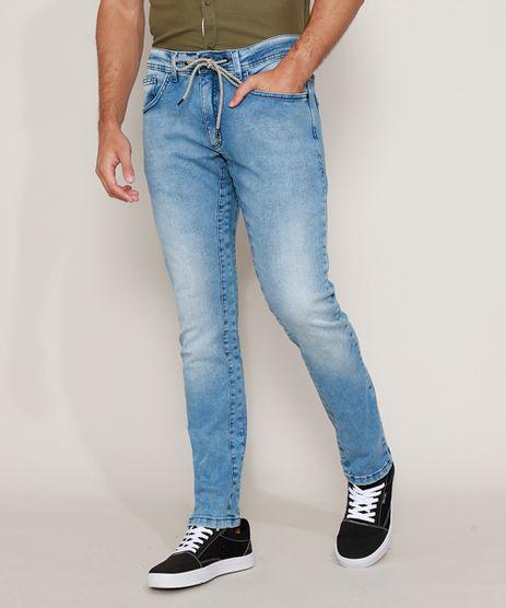 Calca-Jeans-Masculina-Slim-com-Cordao-Azul-Claro-9968742-Azul_Claro_1
