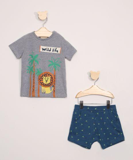 Conjunto-Infantil-de-Camiseta-Leao-Manga-Curta-Cinza-Mescla-Escuro---Short-Estampado-de-Coqueiros-Azul-Marinho-9946966-Azul_Marinho_1
