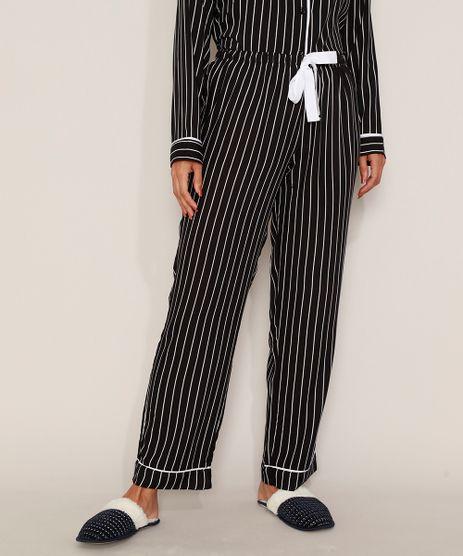 Calca-de-Pijama-Feminina-Listrada-com-Vivo-Contrastante-e-Laco-Preta-9970139-Preto_1