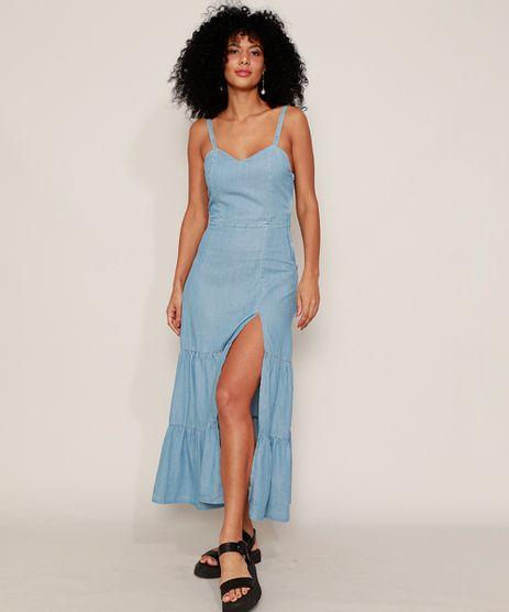 Vestido-Jeans-Feminino-Midi-com-Recortes-e-Fenda-Alca-Laco-Azul-Claro-9982435-Azul_Claro_1