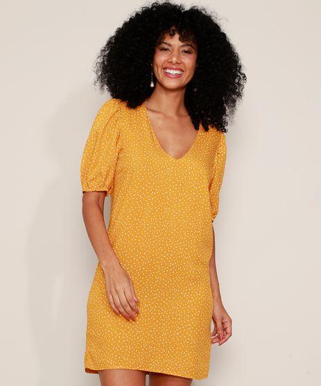 Vestido-Feminino-Curto-Estampado-de-Poa-Manga-Bufante-Amarelo-9975325-Amarelo_1