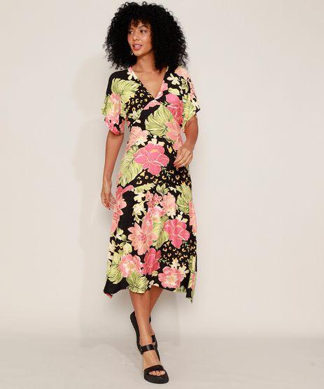 Vestido-Feminino-Midi-Texturizado-Estampado-Floral-Manga-Curta-Ampla-Preto-9976055-Preto_1