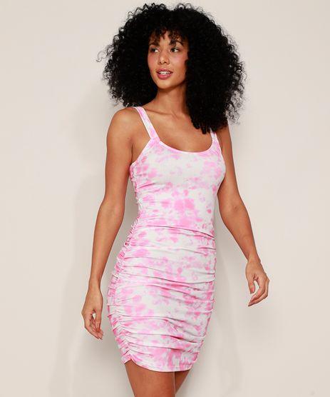 Vestido-Feminino-Curto-Canelado-Estampado-Tie-Dye-com-Franzido-Alca-Media-Rosa-9974887-Rosa_1