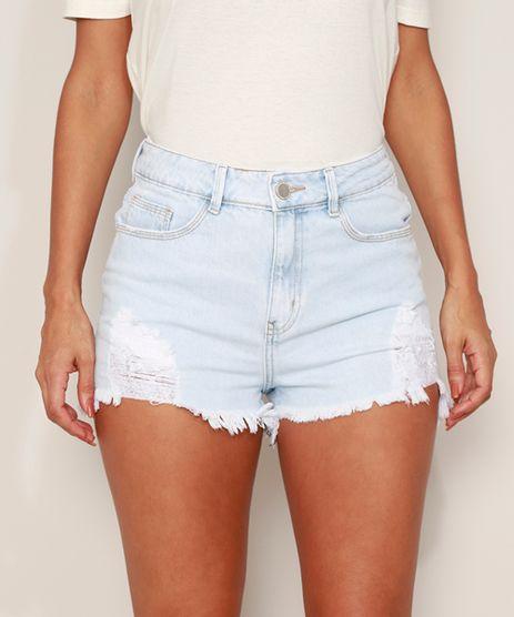 Short-Jeans-Feminino-Cintura-Super-Alta-Destroyed-com-Barra-Desfiada-Azul-Claro-9982488-Azul_Claro_1