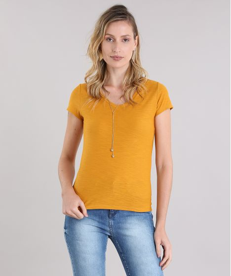 d3892732ac cea · Moda Feminina · Blusas. Blusa-Basica-Flame-Amarela-8525926-Amarelo 1  ...