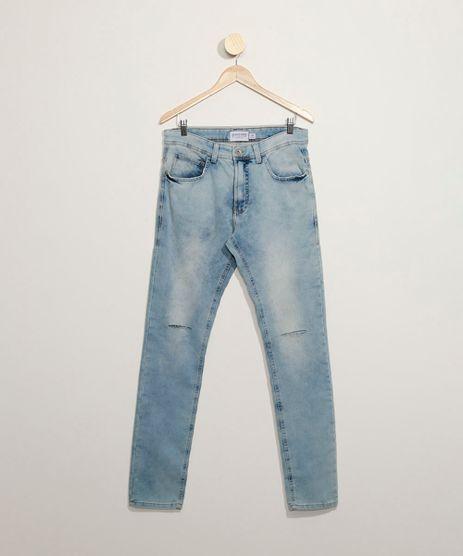 Calca-Jeans-Masculina-em-Moletom-Skinny-com-Rasgos-Azul-Claro-9859785-Azul_Claro_1