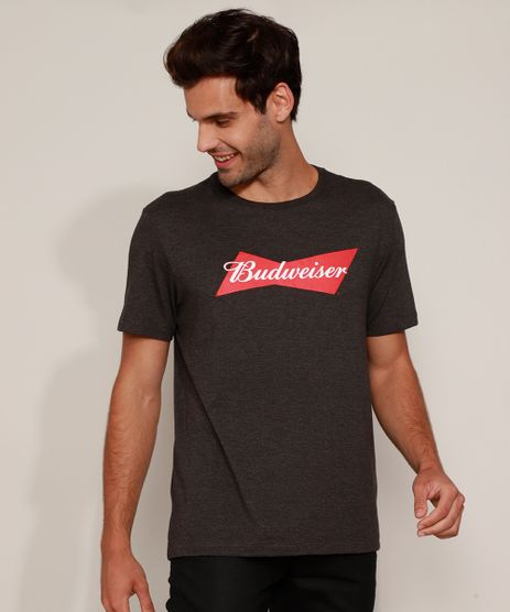 Camiseta-Masculina-Budweiser-Manga-Curta-Gola-Careca-Cinza-Mescla-Escuro-9975059-Cinza_Mescla_Escuro_1