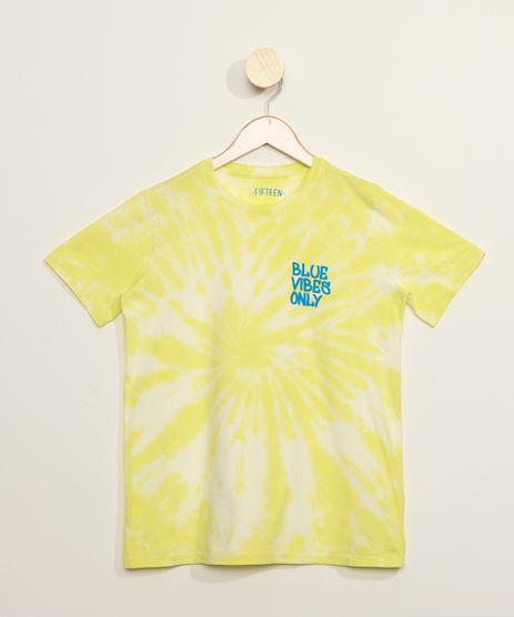 Camiseta-Juvenil--Blue-Vibes-Only--Estampada-Tie-Dye-Manga-Curta-Amarela-Neon-9969465-Amarelo_Neon_1