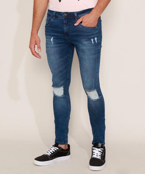 Calca-Jeans-Masculina-Super-Skinny-Destroyed-Azul-Escuro-9967890-Azul_Escuro_1