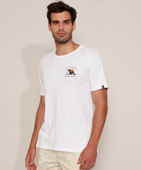Camiseta-Masculina--California--Urso-com-Prancha-de-Surf-Manga-Curta-Gola-Careca-Branca-9981467-Branco_1
