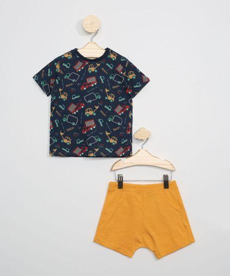 Conjunto-Infantil-de-Camiseta-Estampada-de-Automoveis-Manga-Curta-Azul-Marinho---Short-Mostarda-9946969-Mostarda_1