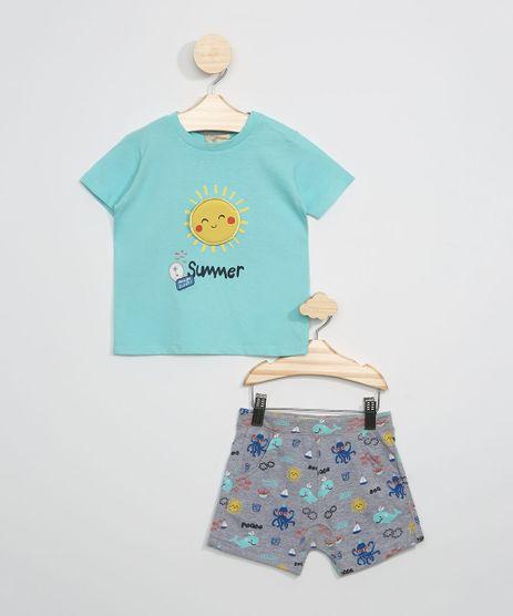 Conjunto-Infantil-de-Camiseta-Sol-Manga-Curta-Verde-Agua---Short-Estampado-de-Fundo-do-Mar-Cinza-Mescla-Escuro-9946970-Cinza_Mescla_Escuro_1