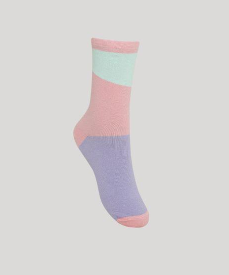 Meia-Feminina-Color-Blocking-Cano-Alto-Rosa-9973175-Rosa_1