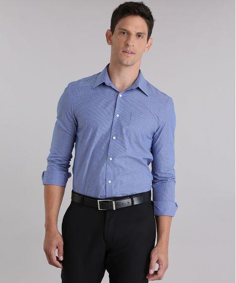 4335540852 Camisa-Comfort-Listrada-Azul-Marinho-8838286-Azul Marinho 1 ...