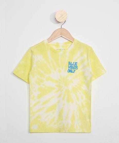 Camiseta-Infantil-Estampada-Tie-Dye--Blue-Vibes-Only--Manga-Curta-Amarela-9969464-Amarelo_1