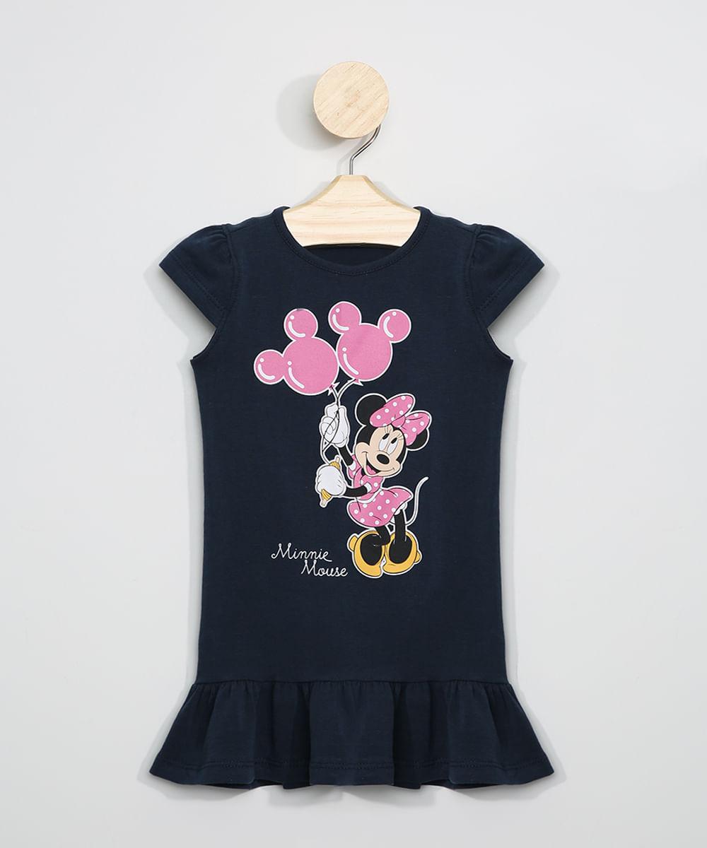 Vestido Infantil Minnie Manga Curta com Babado Azul Marinho