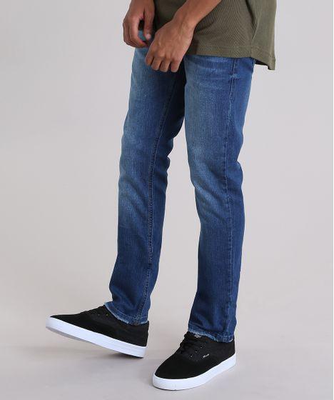 fb479902f Calca-jeans-Slim-com-algodao---sustentavel-Azul- ...
