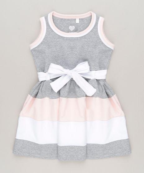 Vestido-com-Recortes-e-Laco-em-algodao---sustentavel-Cinza-Mescla-8714118-Cinza_Mescla_1