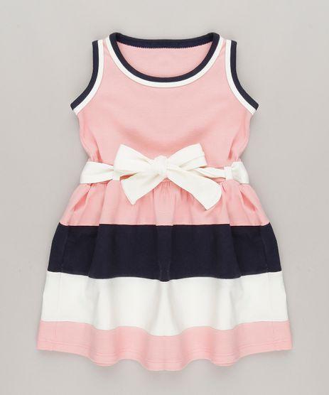 Vestido-com-Recortes-e-Laco-em-algodao---sustentavel-Rosa-9048220-Rosa_1