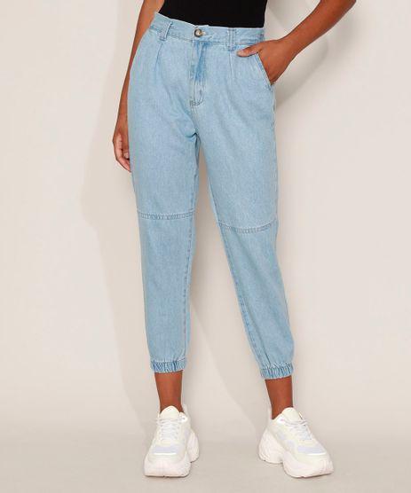 Calca-Jeans-Feminina-Jogger-Cintura-Alta-com-Bolsos-Azul-Medio-9594591-Azul_Medio_1