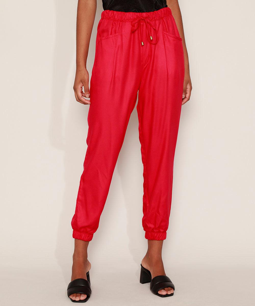 Calça Feminina Jogger Cintura Super Alta com Bolsos Vermelha