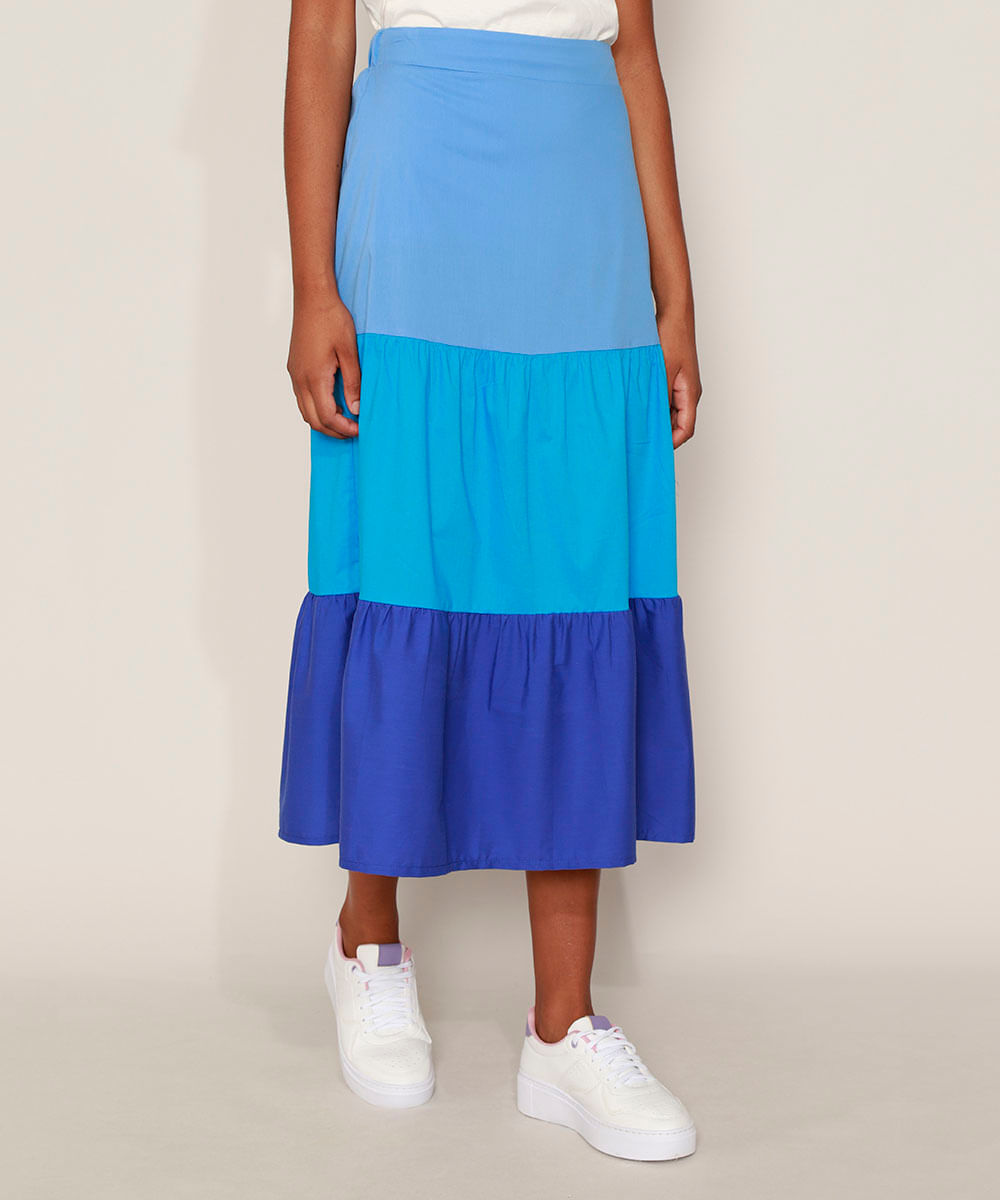 Saia Feminina Midi com Recortes Azul