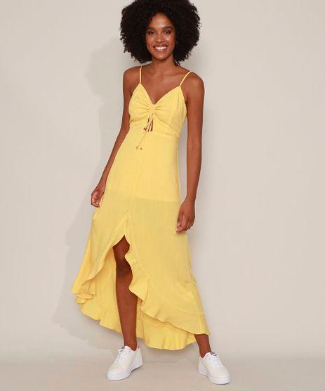 Vestido-Feminino-Longo-com-Fenda-e-Babado-Alca-Fina-Amarelo-9957521-Amarelo_1
