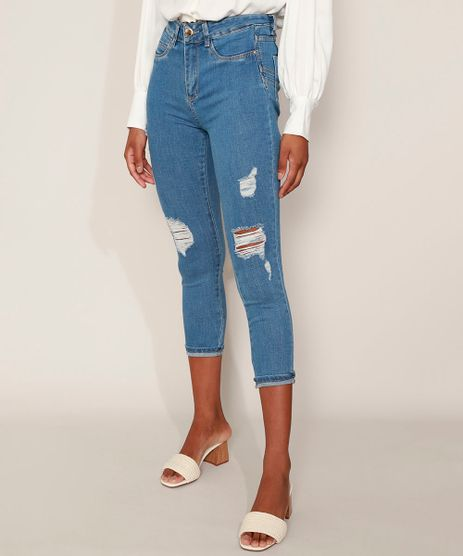 Calca-Jeans-Feminina-Sawary-Cropped-Super-Lipo-Cintura-Alta-Destroyed-com-Barra-Dobrada-Azul-Medio-9980180-Azul_Medio_1