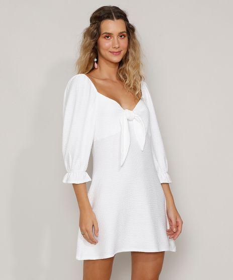 Vestido-Feminino-Curto-Texturizado-com-No-Manga-Bufante-Off-White-9982837-Off_White_1