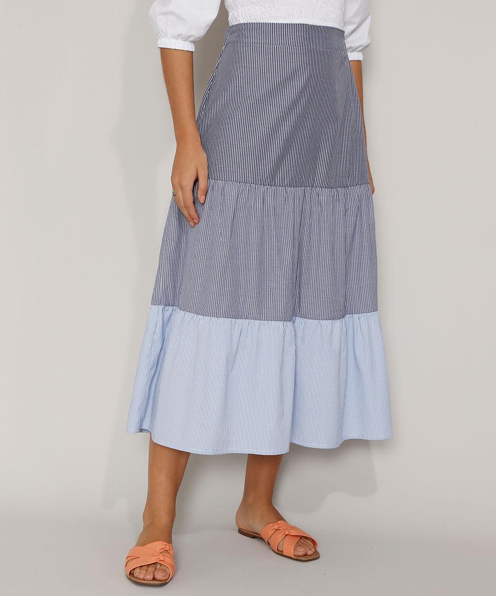 Saia Feminina Midi Listrada com Recortes Azul