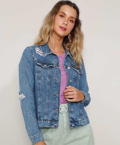 Jaqueta-Jeans-Feminina-Destroyed-Azul-Medio-9978814-Azul_Medio_1
