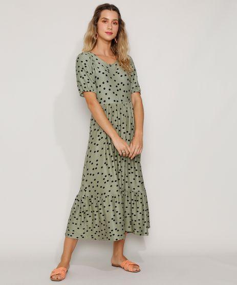 Vestido-Feminino-Midi-Texturizado-Estampado-de-Poa-com-Recortes-Manga-Curta-Verde-9966830-Verde_1