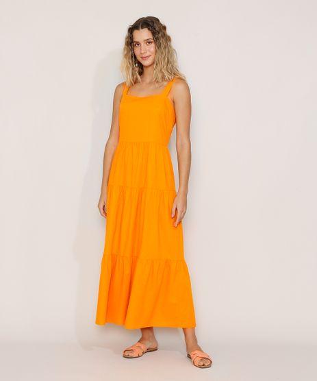 Vestido-Feminino-Longo-com-Recortes-Alca-Laco-Laranja-9976764-Laranja_1
